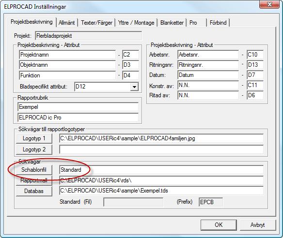 Helpdesk: Inställningar / Schablonfil