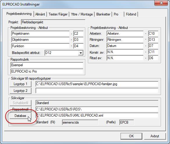 Helpdesk: Inställningar - Databas